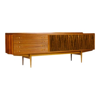 Danish Modern / Mid Century Large Walnut + Rosewood Credenza — Brass Pulls — Designed by Robert Heritage For Sale