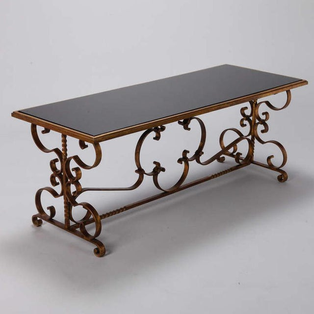Italian Italian Gilt Iron and Black Glass Cocktail or Coffee Table For Sale - Image 3 of 8