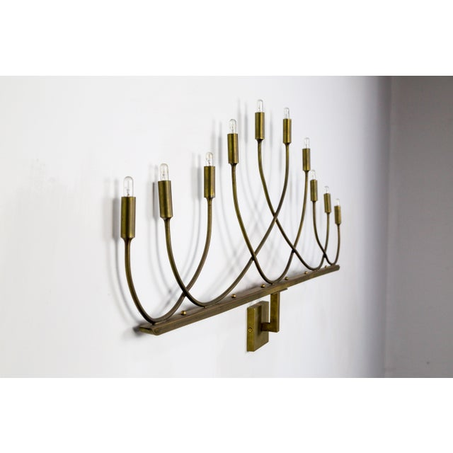 Hollywood Regency Large Hollywood Regency Low Relief 10-Light Brass Sconces - a Pair For Sale - Image 3 of 9