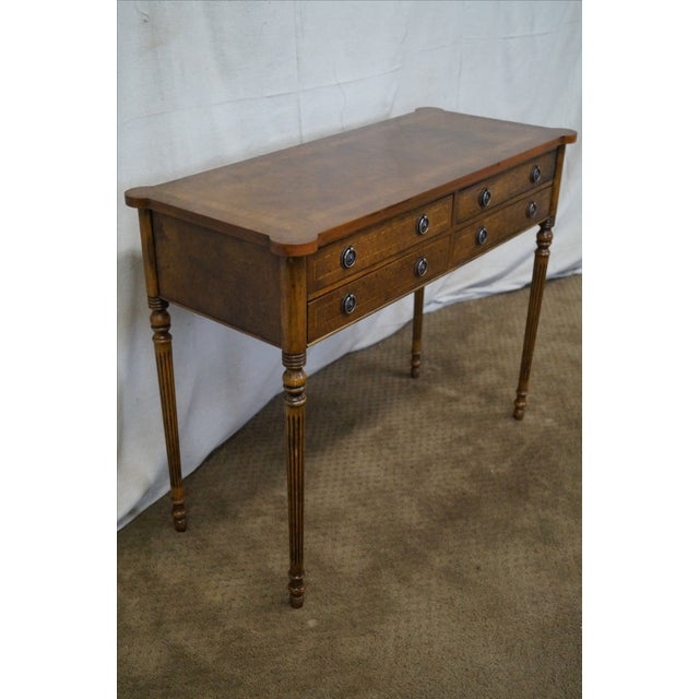 English Burl Walnut Sheraton Style Console Table For Sale - Image 5 of 10