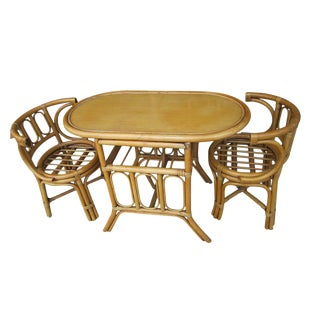 Vintage Mid-Century Bamboo Patio Set (12885) For Sale