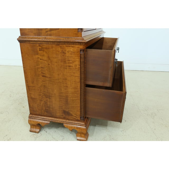 Benchmade Tiger Maple Linen Press Armoire Cabinet For Sale - Image 9 of 13