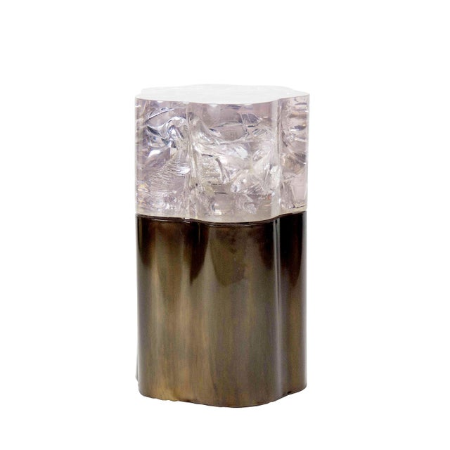 """Rytel Side Table in Ice-Cracked Colored Resin & Sculptural Bronze Bases The organically inspired """"Rytel Side Tablef"""" a..."""