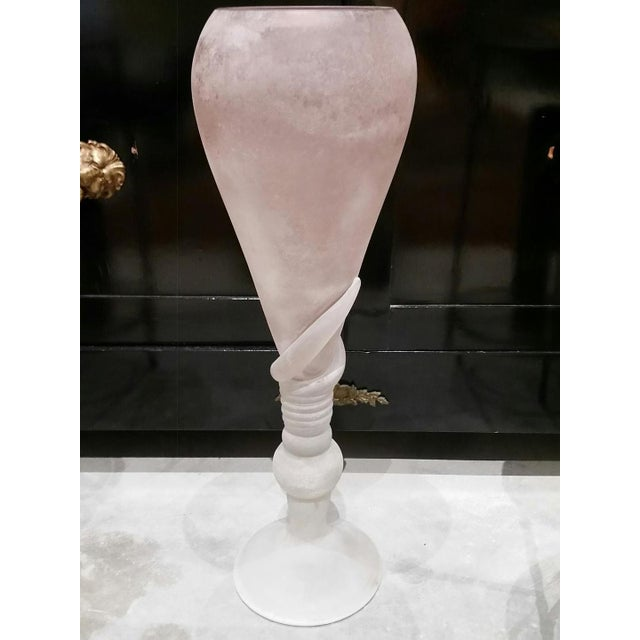"A pair of tall Cenedese blown Murano glass vessels in the frosted Scavo finish. Each is hand signed on the bases ""Cenedese..."