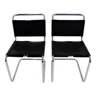 1970s Spoleto Modern Cantilever Leather and Chrome Chairs for Knoll International - a Pair For Sale