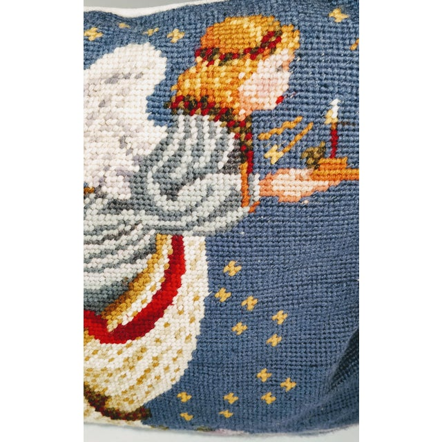 Americana Late 20th Century Needlepoint Christmas Angel Pillow For Sale - Image 3 of 4