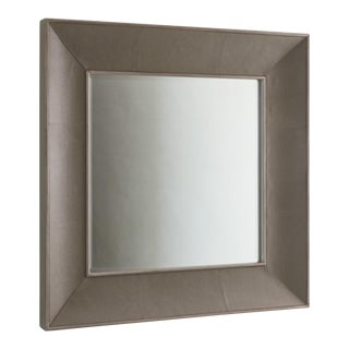 Studio a Modern Gray Leather Shagreen Churchill Wall Mirror For Sale