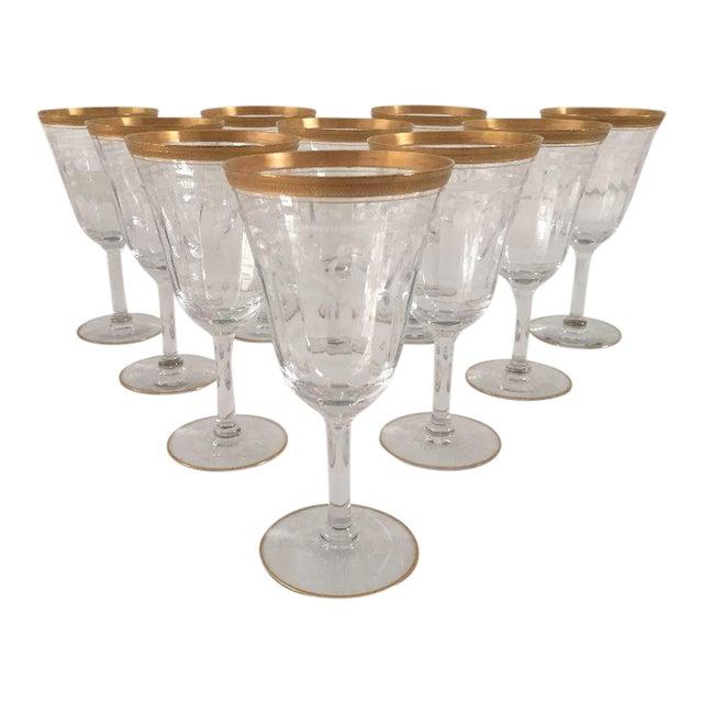 Vintage Gold Rim Etched Wine Glasses - Set of 10 For Sale