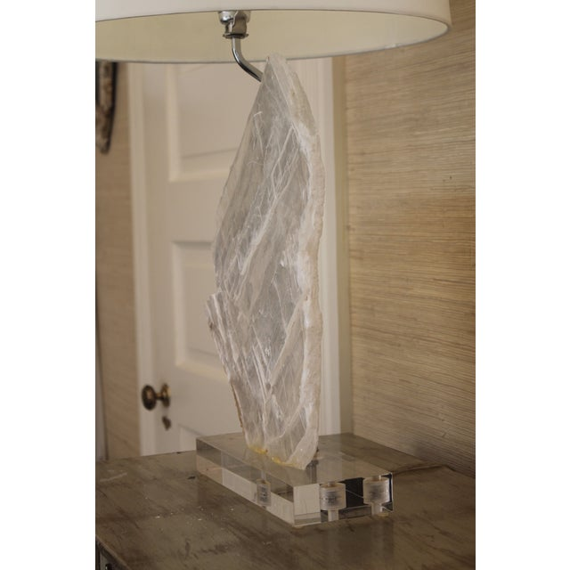 2010s Selenite Stone Lamp With Shade For Sale - Image 5 of 11