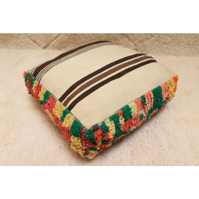 Textile Moroccan Colorful Unstuffed Pouf Cover For Sale - Image 7 of 11