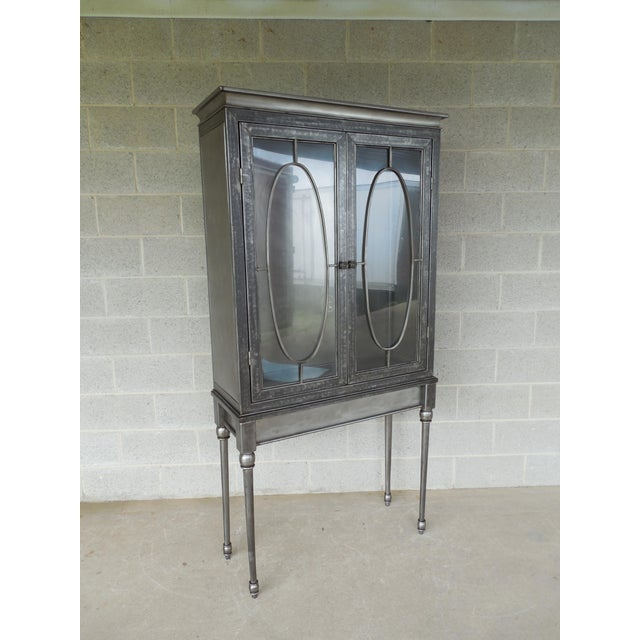 Modern Welded Steel Designer 2 Door Display Cabinet For Sale - Image 13 of 13