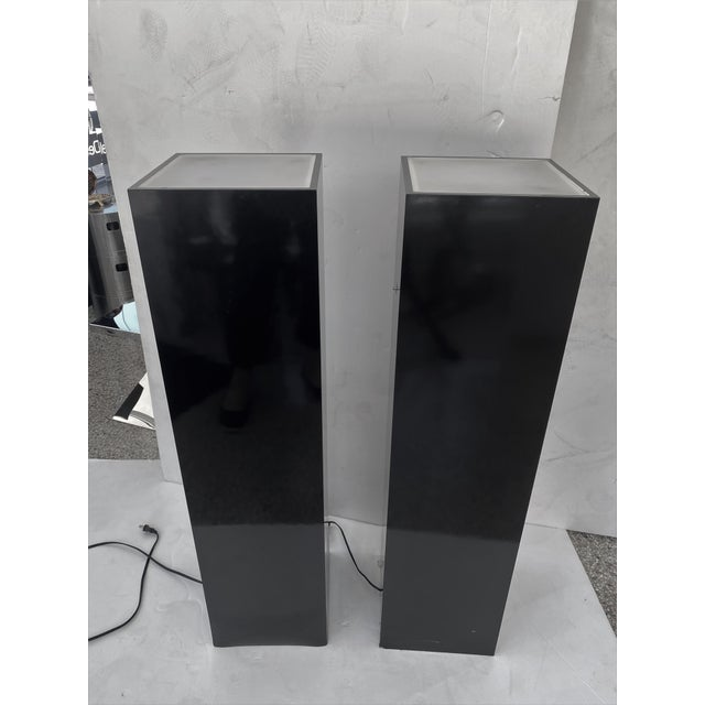 Black Vintage Pedestals Illuminated Black and Frosted Lucite - a Pair For Sale - Image 8 of 12
