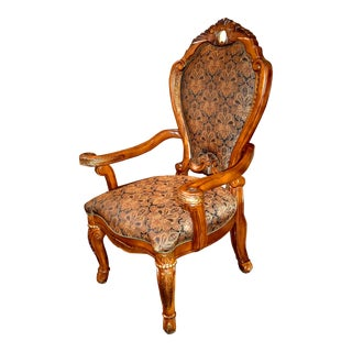 Aico Carved Tuscan Style Dining Arm Chair with Marble Insert For Sale