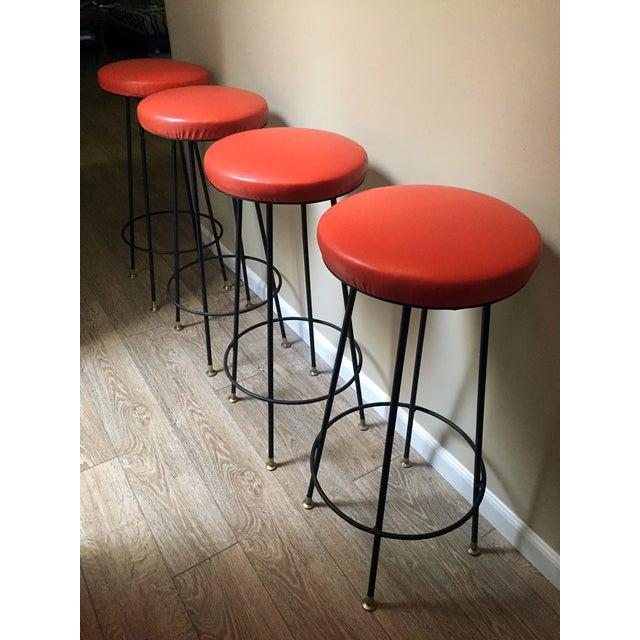 Orange Retro Stiletto Bar Stools - Set of 4 - Image 4 of 10