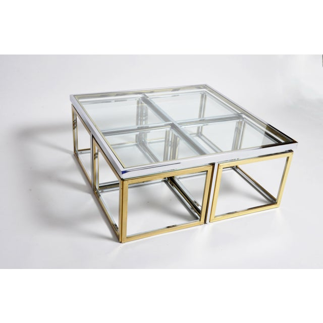1970s Five-Piece Brass Table Set With Glass Top For Sale - Image 13 of 13