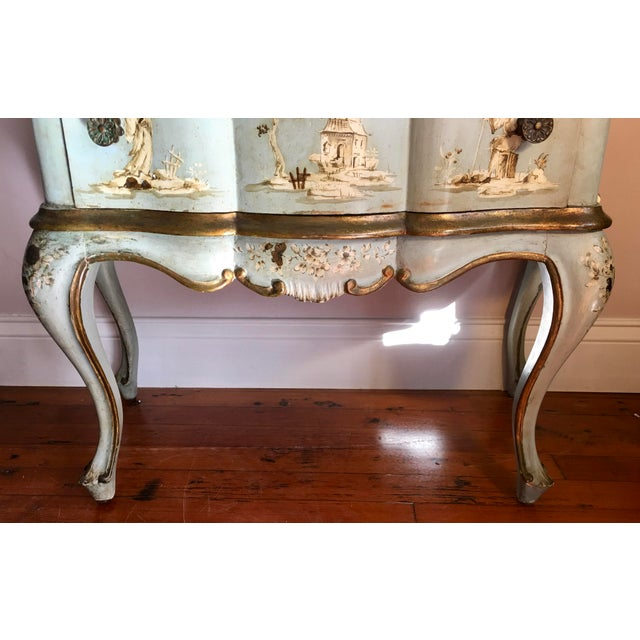 White 18th/19th Century Venetian Rococo Decoupage & Painted Chinoiserie Writing Desk For Sale - Image 8 of 13