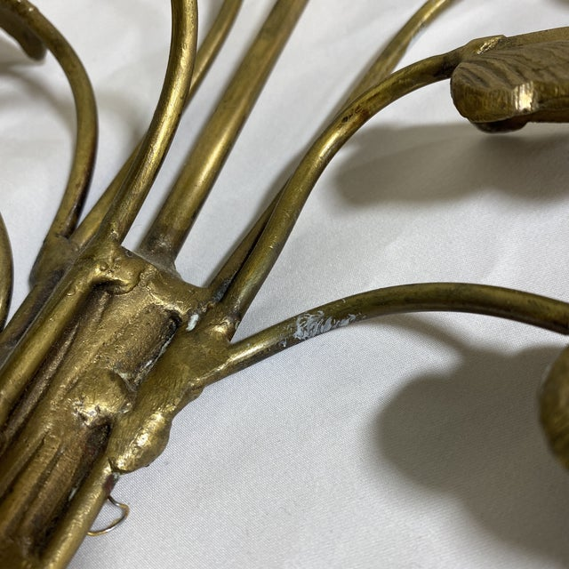 Brass Palm Candle Sconces - a Pair For Sale - Image 11 of 13