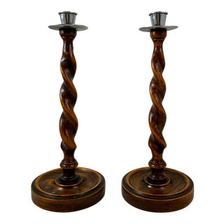 English Barley-Twist Oak & Pewter Candlesticks - a Pair For Sale