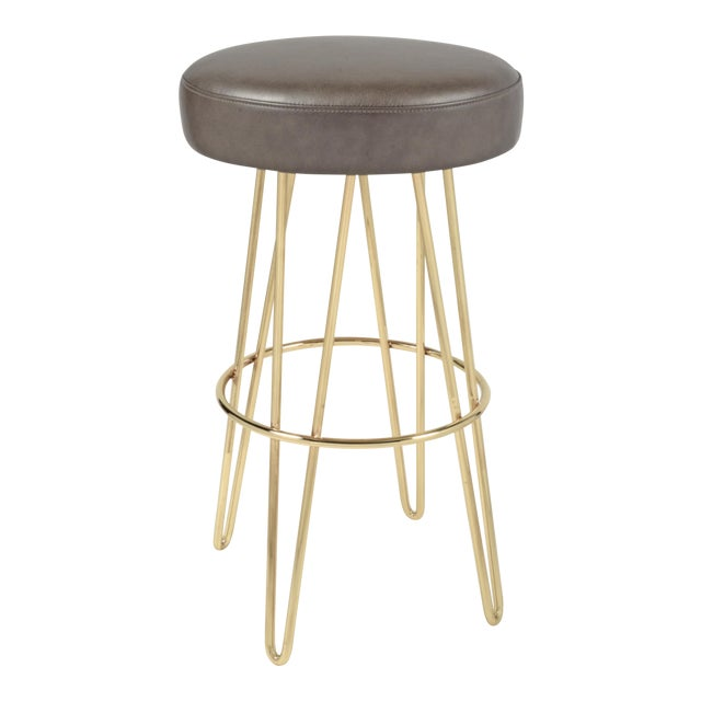 Brass Mushroom & Leather Hairpin Swivel Barstool For Sale