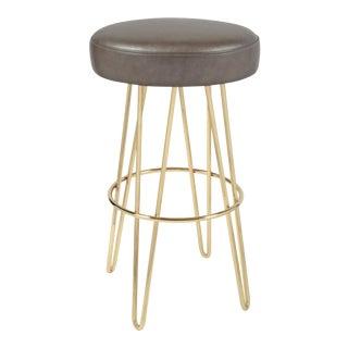 Brass Mushroom & LeatherHairpin Swivel Barstool For Sale