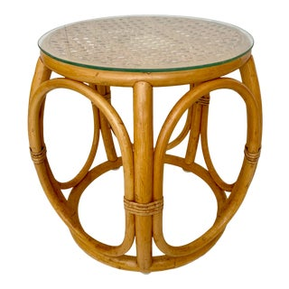 Vintage Rattan and Caning Stool Accent Table For Sale