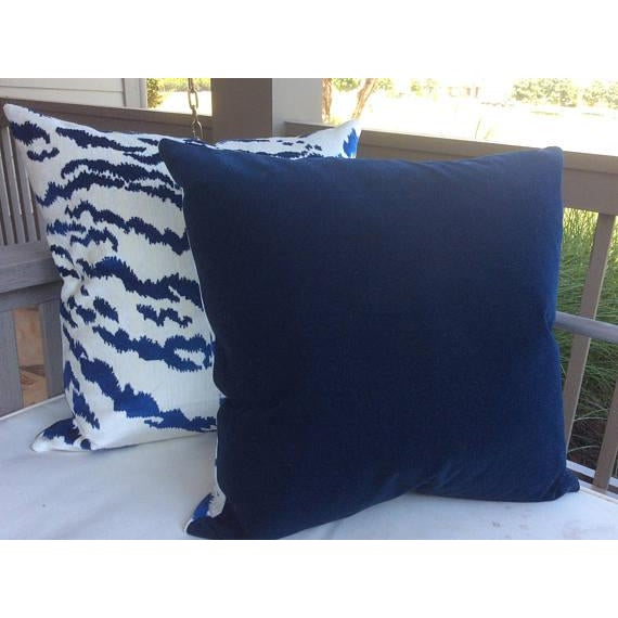 Contemporary Contemporary Tiger Stripe Blue & Ivory Velvet Pillows - a Pair For Sale - Image 3 of 7