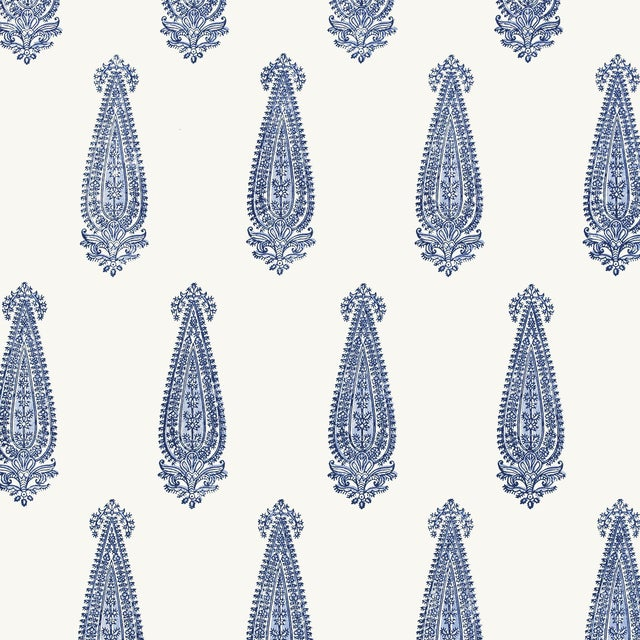 Schumacher Katara Paisley Wallpaper in Delft For Sale