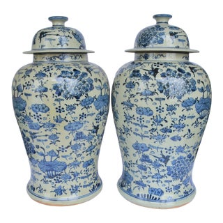 Chinoiserie White & Blue Botanical Ginger Jar - a Pair For Sale