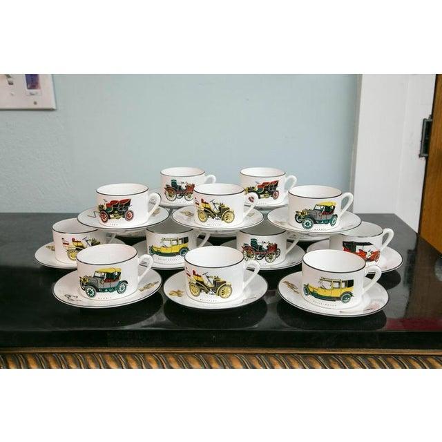 Limoges Antique Car Motif Coffee Set - 30 Pieces - Image 2 of 9