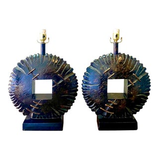 Contemporary Brutalist Gear Shift Lamps - a Pair For Sale