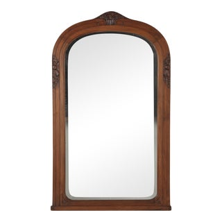 French Art Deco Walnut Frame Beveled Mirror, 1930s For Sale