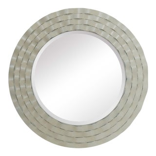 Mystic Coastal Distressed White Round Wall Mirror For Sale
