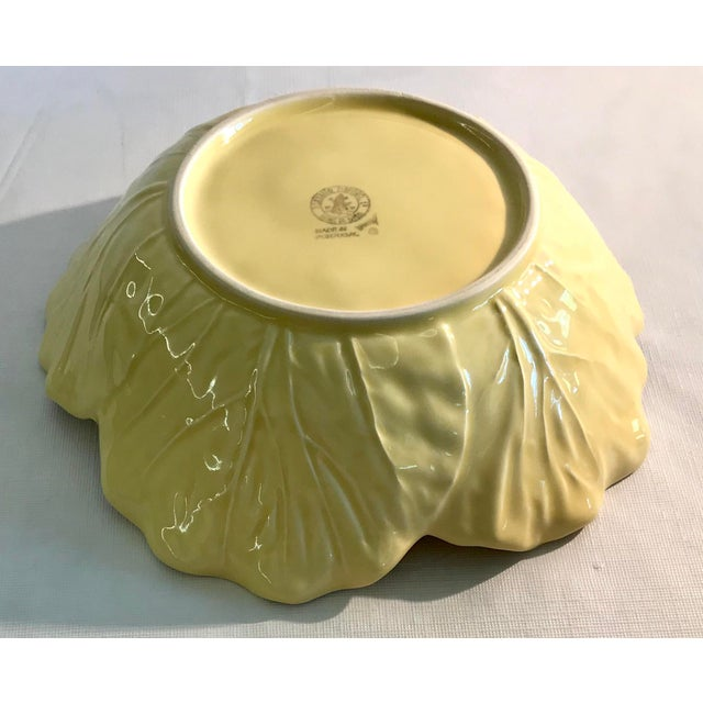 Ceramic 20th Century Cottage Majolica Yellow Cabbage Serving Bowl For Sale - Image 7 of 8