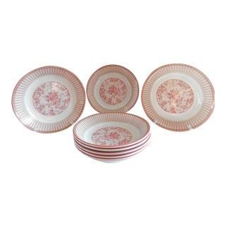 Royal Doulton Studio Vintage Rouge Provence Toile Soup/Pasta Bowls -- Set of 9 For Sale