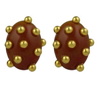 Studded Bakelite Clip Earrings For Sale