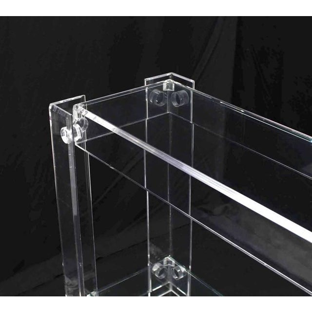 Three-Tier Long Lucite Console Table For Sale - Image 10 of 10