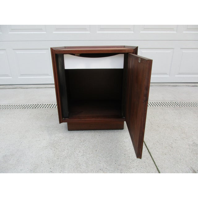 Here's an iconic mid-century modern walnut nightstand from Dillingham's 'Esprit' collection; widely attributed to the...
