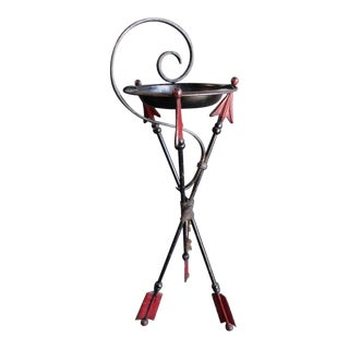 Wrought Iron Deco Arrow Tripod Drink Stand For Sale