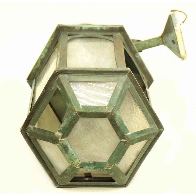 Copper Antique Lantern Sconce For Sale - Image 7 of 9