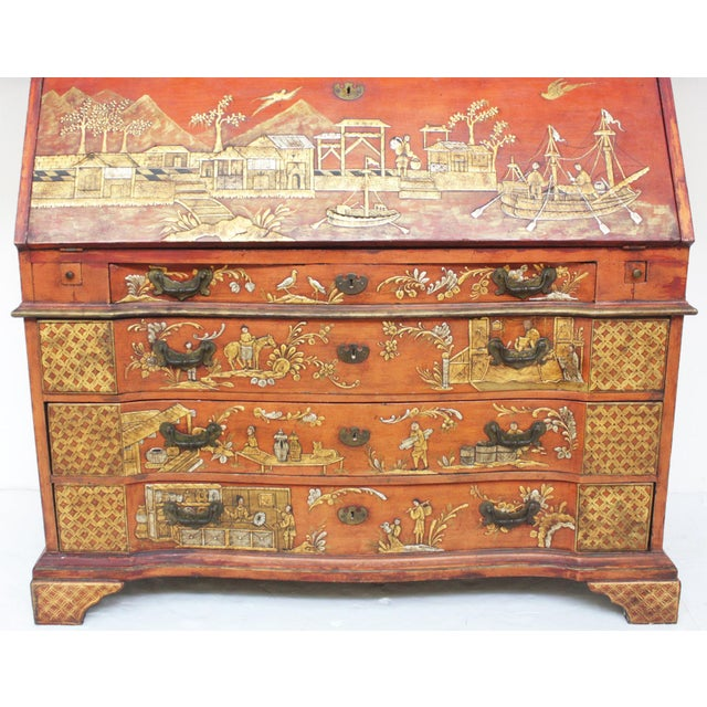 Georgian-Style Red Chinoiserie Secretary - Image 6 of 9