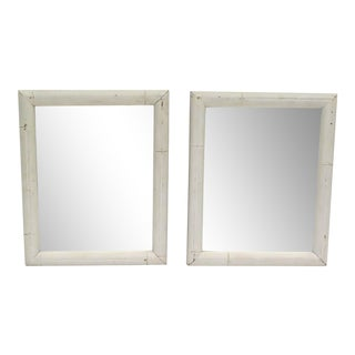 1950's White Bamboo Mirrors - a Pair