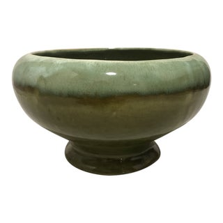 Mid-Century Modern Decorative Drip Glazed Green Ceramic Bowl For Sale