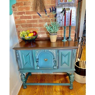 1960s Vintage JacobeanTeal Green Sideboard Preview
