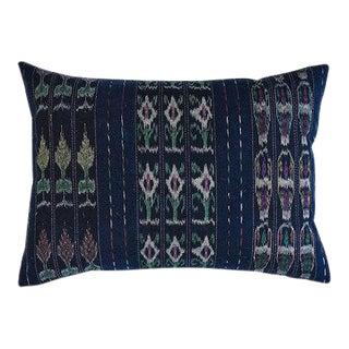 "Guatemalan Vintage Indigo Pillow 22""x15"""" For Sale"