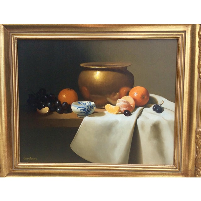 Beautiful Still Life Oil Painting by Jerry Weers. This vintage painting is beautifully framed in a vintage carved giltwood...