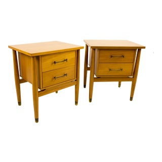 Mid-Century Modern Milo Baughman for Drexel Blonde Nightstands - a Pair