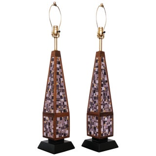 Pair of Mosaic Lamps, 1950s For Sale