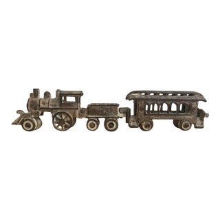 1900s Antique Cast Iron Toy Train For Sale