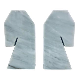 Modernist White Carrara Marble Bookends - a Pair For Sale