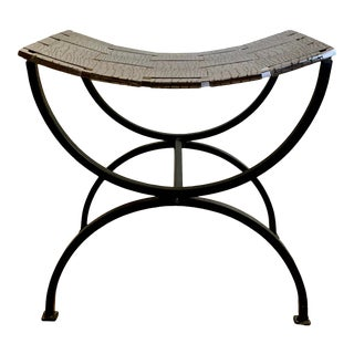Wrought Iron and Stainless Steel Stool For Sale